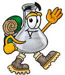 Clip art Graphic of a Laboratory Flask Beaker Cartoon Character Hiking and Carrying a Backpack