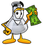 Clip art Graphic of a Laboratory Flask Beaker Cartoon Character Holding a Dollar Bill