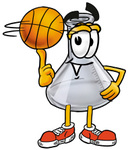 Clip art Graphic of a Laboratory Flask Beaker Cartoon Character Spinning a Basketball on His Finger