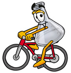 Clip art Graphic of a Laboratory Flask Beaker Cartoon Character Riding a Bicycle