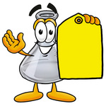 Clip art Graphic of a Laboratory Flask Beaker Cartoon Character Holding a Yellow Sales Price Tag