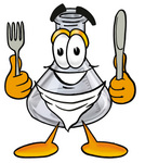 Clip art Graphic of a Laboratory Flask Beaker Cartoon Character Holding a Knife and Fork