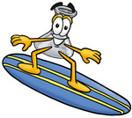 Clip art Graphic of a Laboratory Flask Beaker Cartoon Character Surfing on a Blue and Yellow Surfboard