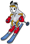 Clip art Graphic of a Laboratory Flask Beaker Cartoon Character Skiing Downhill