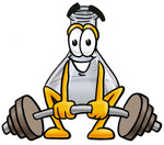 Clip art Graphic of a Laboratory Flask Beaker Cartoon Character Lifting a Heavy Barbell