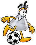 Clip art Graphic of a Laboratory Flask Beaker Cartoon Character Kicking a Soccer Ball