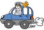 Clip art Graphic of a Laboratory Flask Beaker Cartoon Character Driving a Blue Car and Waving