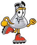 Clip art Graphic of a Laboratory Flask Beaker Cartoon Character Roller Blading on Inline Skates