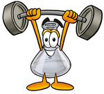 Clip art Graphic of a Laboratory Flask Beaker Cartoon Character Holding a Heavy Barbell Above His Head