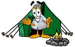 Clip art Graphic of a Laboratory Flask Beaker Cartoon Character Camping With a Tent and Fire