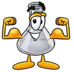Clip art Graphic of a Laboratory Flask Beaker Cartoon Character Flexing His Arm Muscles