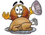 Clip art Graphic of a Basketball Cartoon Character Serving a Thanksgiving Turkey on a Platter