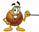 Clip art Graphic of a Basketball Cartoon Character Holding a Pointer Stick