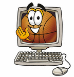 Clip art Graphic of a Basketball Cartoon Character Waving From Inside a Computer Screen