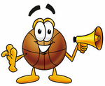 Clip art Graphic of a Basketball Cartoon Character Holding a Megaphone