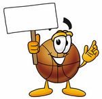 Clip art Graphic of a Basketball Cartoon Character Holding a Blank Sign