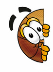 Clip art Graphic of a Basketball Cartoon Character Peeking Around a Corner