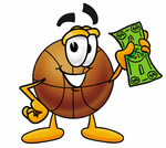 Clip art Graphic of a Basketball Cartoon Character Holding a Dollar Bill