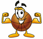 Clip art Graphic of a Basketball Cartoon Character Flexing His Arm Muscles