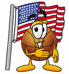 Clip art Graphic of a Basketball Cartoon Character Pledging Allegiance to an American Flag