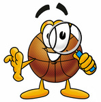 Clip art Graphic of a Basketball Cartoon Character Looking Through a Magnifying Glass