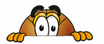 Clip art Graphic of a Basketball Cartoon Character Peeking Over a Surface