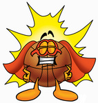 Clip art Graphic of a Basketball Cartoon Character Dressed as a Super Hero