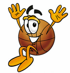 Clip art Graphic of a Basketball Cartoon Character Jumping