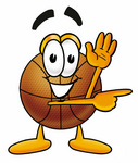 Clip art Graphic of a Basketball Cartoon Character Waving and Pointing