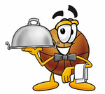 Clip art Graphic of a Basketball Cartoon Character Dressed as a Waiter and Holding a Serving Platter