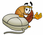 Clip art Graphic of a Basketball Cartoon Character With a Computer Mouse