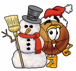 Clip art Graphic of a Basketball Cartoon Character With a Snowman on Christmas