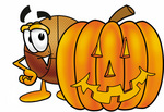 Clip art Graphic of a Basketball Cartoon Character With a Carved Halloween Pumpkin