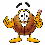 Clip art Graphic of a Basketball Cartoon Character Holding a Pencil