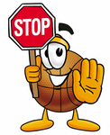 Clip art Graphic of a Basketball Cartoon Character Holding a Stop Sign