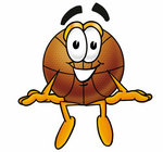Clip art Graphic of a Basketball Cartoon Character Sitting