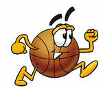 Clip art Graphic of a Basketball Cartoon Character Running