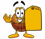 Clip art Graphic of a Basketball Cartoon Character Holding a Yellow Sales Price Tag