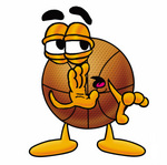 Clip art Graphic of a Basketball Cartoon Character Whispering and Gossiping