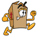 Clip Art Graphic of a Cardboard Shipping Box Cartoon Character Running