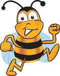 Clip art Graphic of a Honey Bee Cartoon Character Running