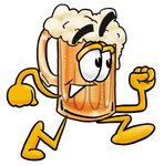 Clip art Graphic of a Frothy Mug of Beer or Soda Cartoon Character Running