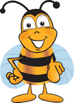 Clip art Graphic of a Honey Bee Cartoon Character Pointing at the Viewer