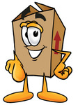 Clip Art Graphic of a Cardboard Shipping Box Cartoon Character Pointing at the Viewer