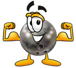 Clip Art Graphic of a Bowling Ball Cartoon Character Flexing His Arm Muscles