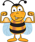 Clip art Graphic of a Honey Bee Cartoon Character Flexing His Arm Muscles