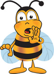 Clip art Graphic of a Honey Bee Cartoon Character Whispering and Gossiping