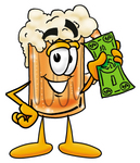 Clip art Graphic of a Frothy Mug of Beer or Soda Cartoon Character Holding a Dollar Bill