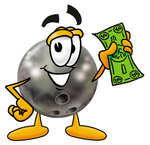 Clip Art Graphic of a Bowling Ball Cartoon Character Holding a Dollar Bill
