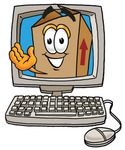 Clip Art Graphic of a Cardboard Shipping Box Cartoon Character Waving From Inside a Computer Screen